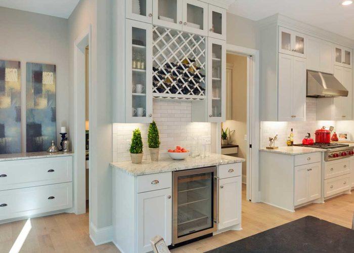 Kitchen details with wine storage