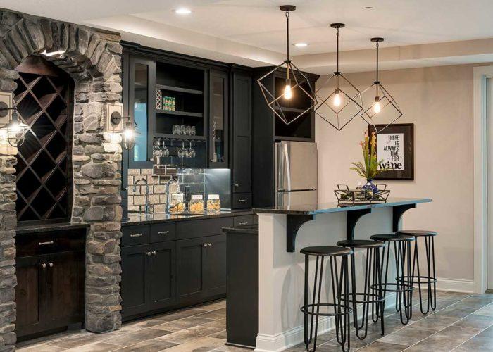 Modern bar area with decorative lighting