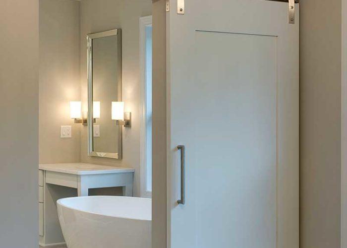 Bathroom sliding farm house inspired door