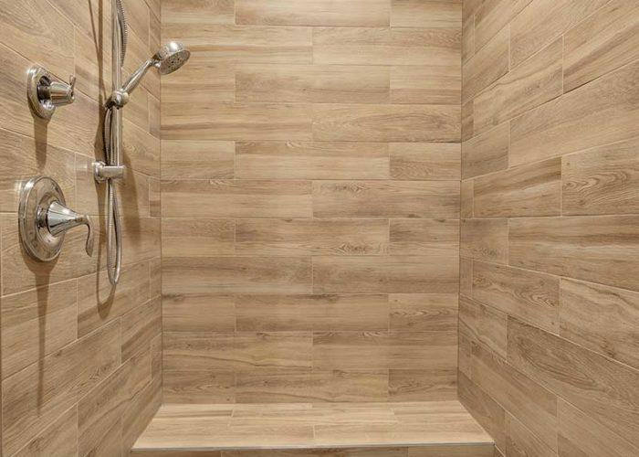 Wood tile in walk in shower