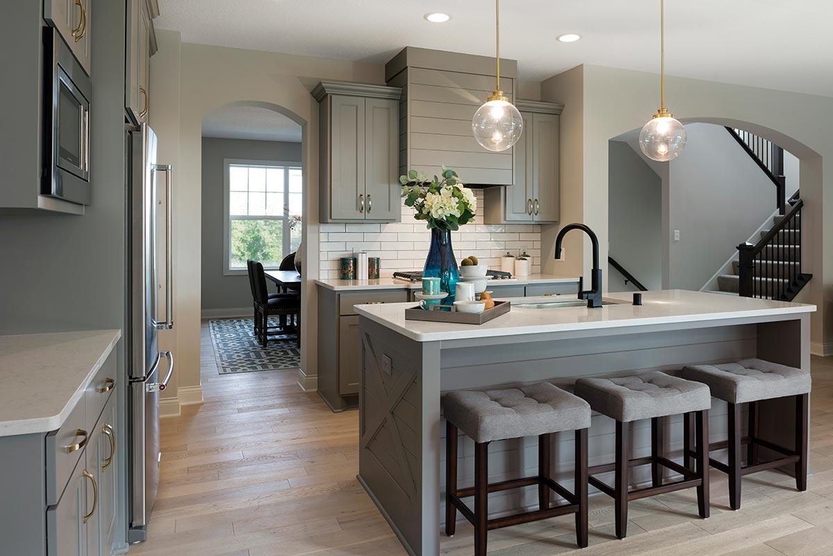 Kitchen island with pendant lighting