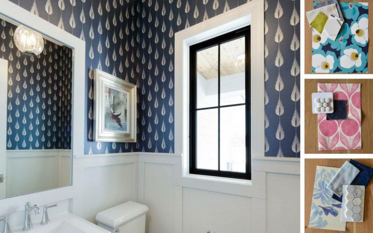 Bold wallpaper in bathroom