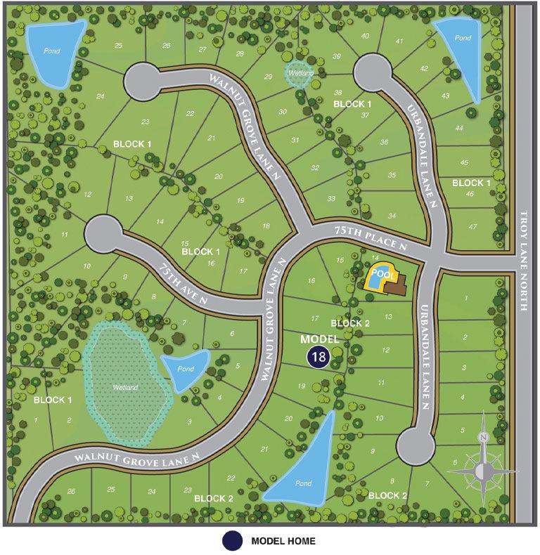 Site map of Woods at Rush Creek Neighborhood