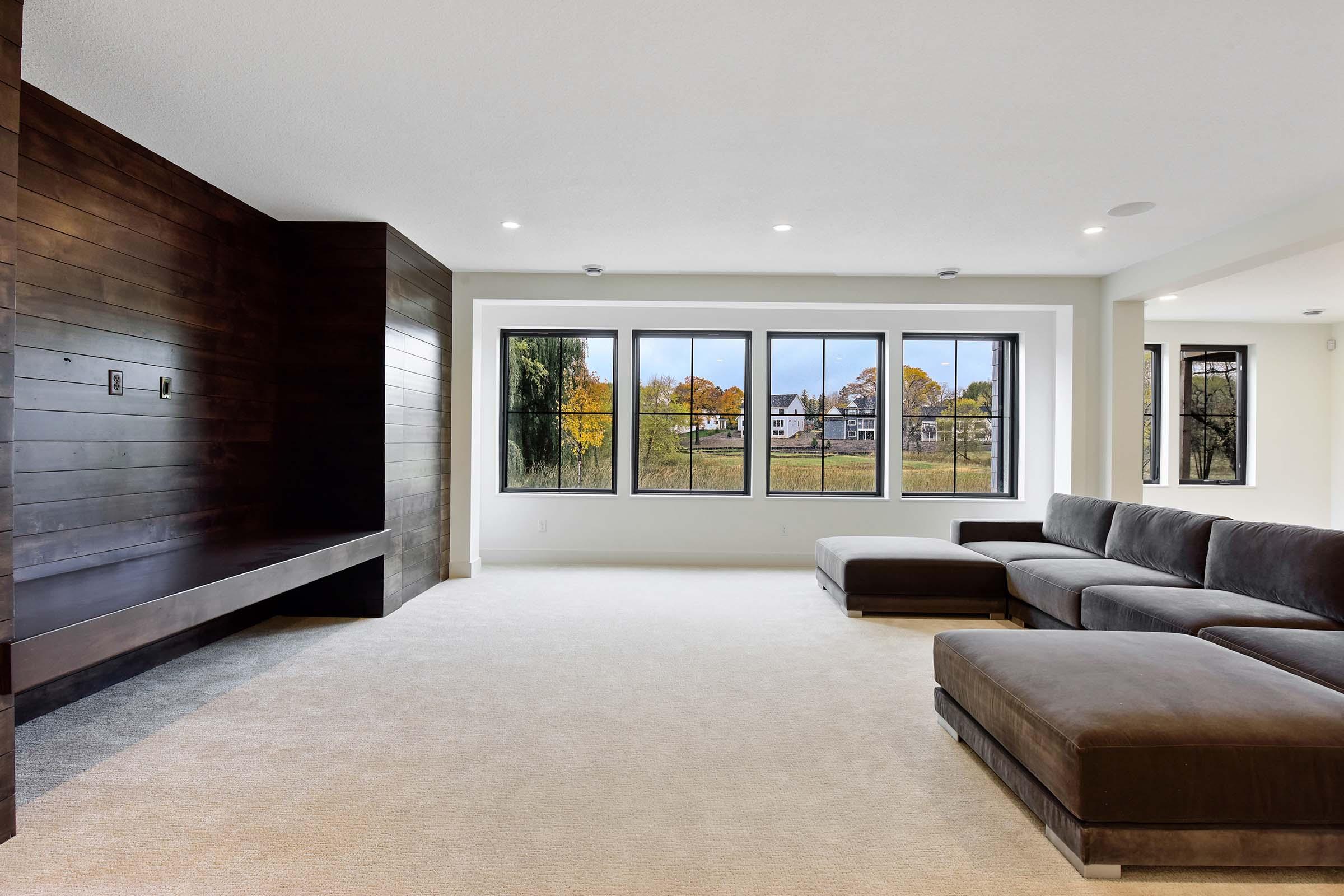 lower level custom built ins and windows Gonyea Custom Homes